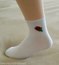 Crew Socks White w/ Rose embroidered on side Sz 6-9 -2 pair pack Proportion Fit