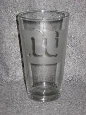 New York Giants 12oz Pub Glass with Team logo Etched Budweiser