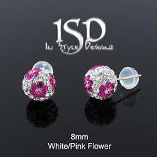14k Yellow Gold 8mm White Pink Flower Austrian Crystal Ball Studs Earrings