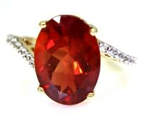 Large Red Andesine  9ct Yellow Gold Asymmetric Ring size L 1/2 ~ 6