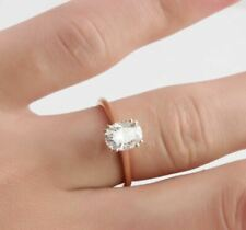 Ring 2.00Ctw Oval Diamond Wedding Ring 14K Over Rose Gold Solitaire Engagement