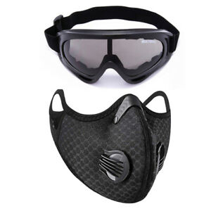Sports Activated Carbon Face Cover with Filter & dustproof Glasses Goggles