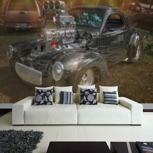 Fototapete Vlies und Papier Tapete Willys Nelsons Coupe Hot Rod Truck Cruizin