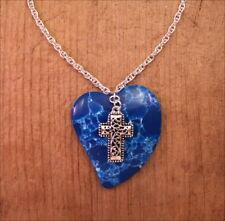 "Dark Blue Genuine Heart Stone Pendant Filigree Cross Charm SP Chain 18"" Necklace"