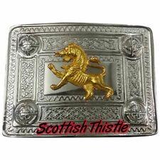 Herren Highland Kilt Gürtelschnalle Löwe Chrom Gold/Scottish Celtic Schnallen