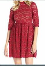 New~Gabby Skye~Women Sz 10~ Elbow-Sleeve~High-neck RED LACE~Short PROM Dress