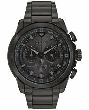 Citizen Eco-Drive Mens Ecosphere Chronograph Black Stainless Watch CA4184-81E