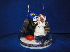 NEW LOS ANGELES CHARGERS Wedding Caketopper with Kissing Bride & Groom &GoalPost