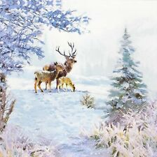 Bulk-0,79$/pc! 3 x Single Paper Napkins For Decoupage Winter Deer Christmas M868