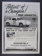 1960 Fiat Abarth dual cam 750 Record Monza race car photo vintage print Ad
