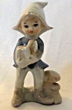 "Vintage DUTCH BOY & Mushrooms blue white porcelain figurine 5.5""H by Lego Taiwan"