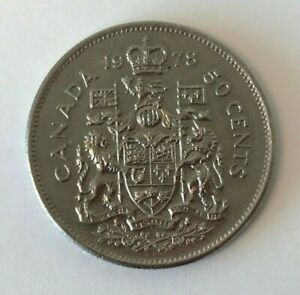Canada 1978 50 Cent Coat of Arms Half Dollar Coin