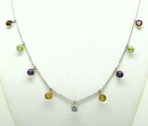 MULTI-STONE GENUINE GEMSTONES NECKLACE 14k WHITE GOLD * New With Tag *