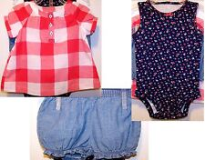 New $26 tag CARTERS 3pc BABY 6 Month Floral BODYSUIT, SHORTS & Red White BLOUSE