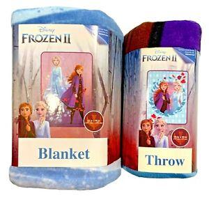 Disney Frozen II Elsa & Anna Twin Plush Blanket & Throw Set of 2