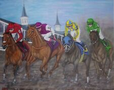 """original oil  painting, Kentucky Derby, Thoroughbred horse racing,   24""""x 30"""""""
