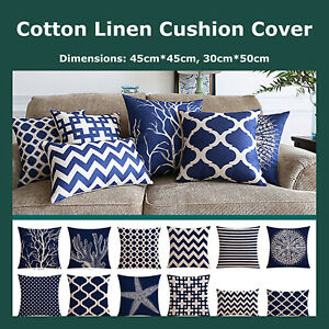 Deep Blue Nautical Geometric Cotton Linen Blend Cushion Cover Throw Pillow Case