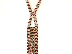 Très long collier sautoir—Métal doré serti de strass colorés—Vintage