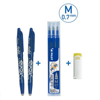 2 Stylos Roller FriXion Ball + 3 Recharges + 1 Gomme - Pointe Moyenne 0,7 Bleu