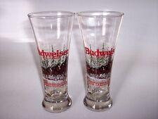 2 Vintage 1989 BUDWEISER CLYDESDALES Holiday Pilsner Beer Glasses Anheuser Busch
