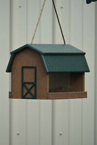 Poly-wood Mini Barn Large Handcrafted Hanging Bird feeder, Song bird Essentials