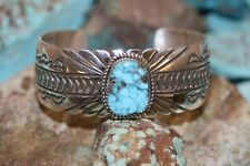 JERRY T. NELSON NAVAJO CUFF BRACELET WITH #8 TURQUOISE ,STERLING.