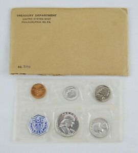 1958 United States Mint Silver Proof Set 5 Coins in Cellophane w/ Gov. Package