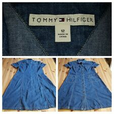 Vintage 2003 Tommy Hilfiger Womens Metal Button Front Denim Jeans Dress 12 L110
