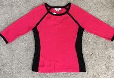 Liz Claiborne Bright Rose And Black 3/4 Sleeve Sweater 100% Cotton  Size M