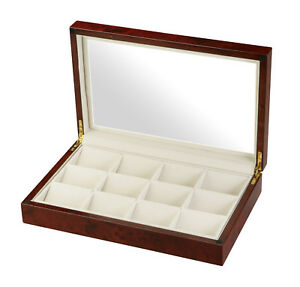 Diplomat 12 Pocket Watch Case Burl Wood Glass Top Storage Display 31-51014