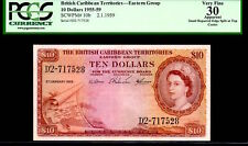 "BRITISH CARIBBEAN TERRITORIES P10b ""MAP"" $10 1959 PCGS 30 ""QUEEN ELIZABETH II"""