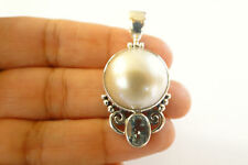 White Mabe Pearl Blue Topaz 925 Sterling Silver Pendant