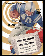 1961 NFL CHAMPIONSHIP GAME (Packers & Giants) Poster of Game Program, 8x10 Photo