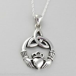 Trinity Claddagh Necklace - 925 Sterling Silver - Celtic Triquetra Pendant NEW