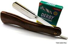 Holz Rasiermesser inkl 100 Derby Rasierklingen Rasierer Jilet Herren Bart Razor