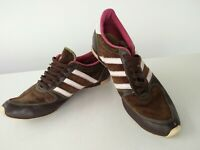 Womens Adidas brown suede pink lace up plimsolls pumps trainers shoes UK 5 EU 38