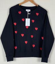 Isa & Ella Black Women's Sweatshirt with Red Hearts - Size Medium