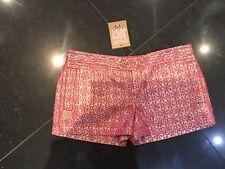 Nuevo con etiquetas Juicy Couture Nuevo & Gen. Damas pequeño tamaño de Reino Unido 8 EE. UU. 4 Rosa Lurex Pantalones Cortos