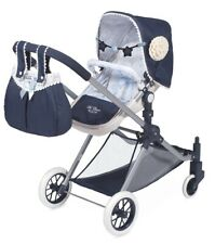 Doll Pram Reborn 3x1 Pushchair, Carrycot And Buggy toy for Dolls toys In Navy