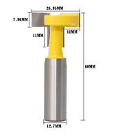 T-Slot Cutter 1/2'' Shank Steel Handle Milling Router Bit For Woodworking Tools