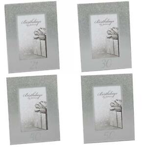 """Silver Glitter & Mirror 4""""x6"""" Photo Frame with Number - Choose Design"""