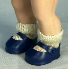 Vintage Original Muffie Royal Blue Doll Shoes with White Rayon Socks Fit Ginny