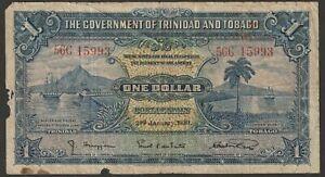 """Trinidad & Tobago 1 Dollar P-5b (1939) """"G-aVG"""""""