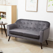 2 Seater Grey Velvet Button Back Accent Sofa Armchair Love Seat Living Room Loft