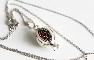 Pomegranate necklace charm Silver 925 zircons Persephone Armenian jewelry  NEW