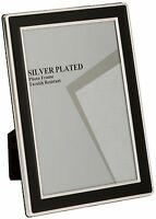 "SILVER PLATED BLACK ENAMEL FINISH PHOTO FRAME 4""x6"", 5""x7"", 6""x8"" 8""x10"""