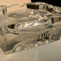 J G DURAND MARLBORO CRYSTAL ETCHED GLASS ASHTRAY - RARE VINTAGE HEAVY 6x6