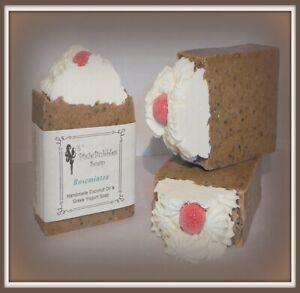 Handmade Soap PixieBubbles ROSEMARY MINT & TEA TREE Coconut Oil & Greek Yogurt