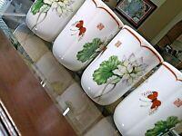 8 Large Tea/Coffee Mugs-Lotus Pattern. Toscany Collection. Japan
