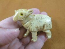(Y-She-301) tan Sheep Ram Soapstone carving stone figurine Ovis farm ewe Peru